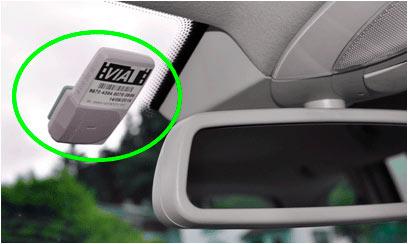 Foto: Dispositivo ViaT colocado en la parte interior del parabrisas del vehículo.