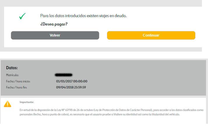 Captura pantalla: Confirmación de que tienes una deuda.