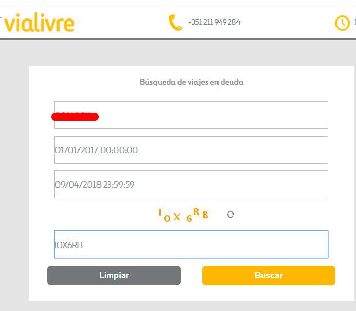 Captura pantalla: Proceso para averiguar si tienes pagos pendientes en peajes de Portugal.